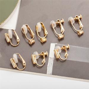 Clip en los pendientes de plata de oro convertidor abierta aro de DIY pernos prisioneros Perforado de joyas pendiente de la moda, mujeres, hombres voluntad y regalo de arena