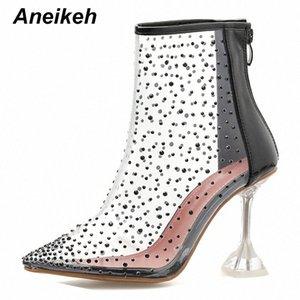 Aneikeh осень PVC Transparent Ботильоны женщин сексуальный острым носом Zipper Кристалл Высокие каблуки Прозрачный Clear Женская обувь Насосы L8Ac #