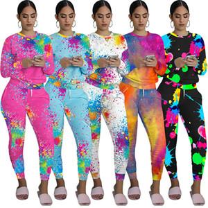 Kadınlar Sonbahar Giyim Graffiti 2PCS Eşofman Kazaklar Spor Jogger Suits D92304 Tops Batik Uzun Kollu T gömlek + Pantolon yazdır ayarlar