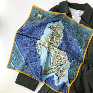 Women Neck Scarf Hijab Wraps 100% Pure Silk Square 2020 Horse Head Scarves Female Foulard Bandana Neckerchief Lady Shawls 53cm