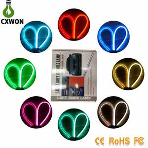 DRL LED Esnek 60CM * Kara Şimşek Şerit Işık 5xrG # Sign LED DRL Far Montaj Neon Car Akan 2 Çift Renkli Beyaz Su