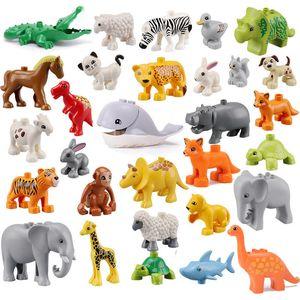 10pcs / lot Duploe Big Size Diy Building Blocks Dinosaurier Wilde Tierfiguren Kompatible Duploed Spielzeug für Kinder Kinder Geschenke