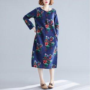 Principios de otoño 2020 nueva gran tamaño de la ropa de lino falda de algodón de las mujeres falda larga artística impresa delgado ajuste sábanas de algodón temperamento de la manera l