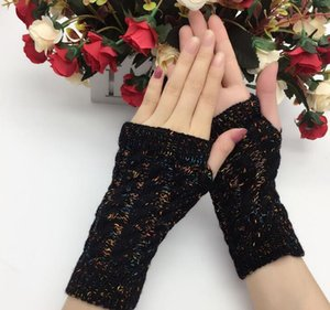 women's autumn and winter yarn knitted gloves lady's thicken warm fingerless gloves multicolor arm sleeves R108