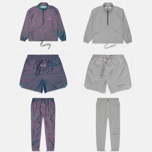 FOG Fear Of God Essentials-Metallic Iridescent Nylon Set Grau Reflective Leichte Jacken Shorts Hosen Top Bottom Hip Hop Street
