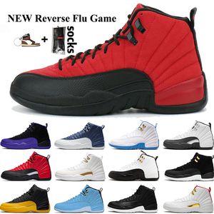 Nike Air Jordan Retro 12 12s uomini di pallacanestro dell'Università Oro SatinatoGiordaniaPietra retro mens blu piattaforma formatori scarpe da ginnastica di sport
