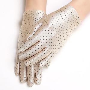 Tupfen Damen Handschuh Sommer Frühling Spandex Handschuhe Sunscreen Etiquette Mode kurzer Handschuh hohe elastische dünne