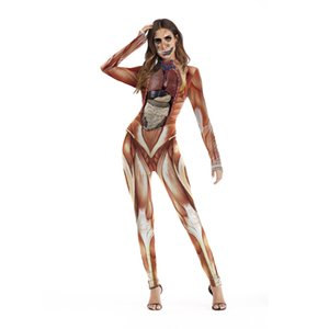 Dia das Bruxas Roupa engraçada Horror traje Mulheres Costume Realistic estrutura do corpo humano Organização Impressão Esqueleto Jumpsuit