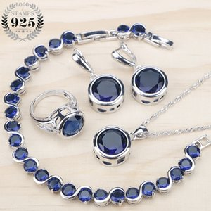 Ladies Silver 925 Jewelry Sets For Women Blue Cubic Zirconia Rings Bracelets Earrings Pendant Necklace Set Free Gift Box C0927