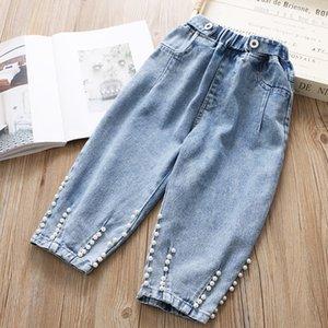 Babyinstar 2020 nueva llegada de los pantalones vaqueros azul para el diseño de Pearl Kids Fashion Kids estilo Pantalones vaqueros niñas pequeñas sueltan los pantalones LJ200819