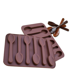 Non-stick Silicone DIY Cake Decoration Molds 6 Holes Spoon Shape Chocolate Molds Jelly Ice Baking Mould 3D Candy Mold
