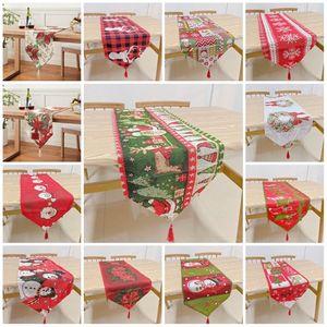 chaud de Noël Table Cloth Père Noël Banquet de Noël Accueil Décoration de Noël brodé de table dessin animé couverture table en tissu T2I51306