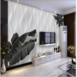wallpaper for walls 3 d for living room 3d wallpaper minimalist curve black and white leaves wallpapers TV background wall