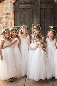 Simple Design Little Princess Long Party Dresses Pretty Flower Girls Dress for Weddings vestidos de comunion Custom Made
