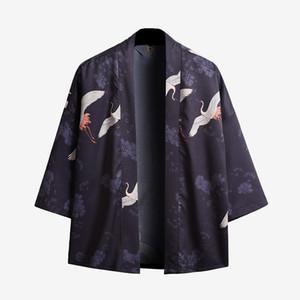 Quimono japonês Estilo Homens Cardigan Metade mangas aberta frontal Manto Brasão Jacket
