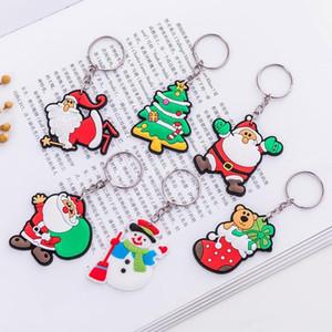 Nova versão do Desenhos animados Papai Noel chaveiro ornamentos bonito anel de homens e mulheres de Natal pingente de presente de chave par DHL grátis