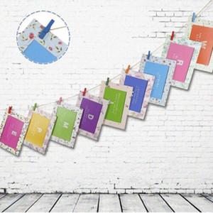 DIY Home Wall Decor Wall Hanging Cartoon Animals Paper Photo Frame For Baby Wedding Photo Frame 9Pcs Set