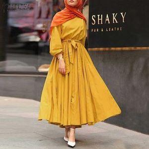 Осень Женщины Сплошной Vestidos мусульманский праздник Платья Свободный Полный Sleeve Lace-Up ZANZEA мундир Длинные Maxi Robe Femme Крупногабаритные 5XL