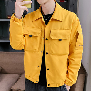 MANTLCONX Jacket Men New Solid Color Большой Карман куртки High Street Мужская мода весна пальто Мужчины Hip Hop Streetwear Мужской