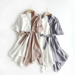 Women's Dress Summer Autumn High Quality Casual Style Irregularly Striped Lapel Lacing Fashion Skirt 2 Style Available Size: S-L