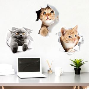 25 * 23cm 3D igienici adesivi gatto animale sveglio Sticker impermeabile per Frigo Barthroom Kitchen Home Decor PVC creativo
