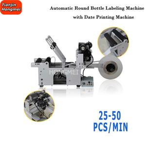 Semi automatico della macchina etichettatrice manuale rotonda etichettatrice bottiglia con data di stampa autoadesiva Labeler