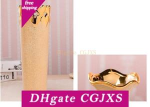 100% New Gold -Plated Керамическая ваза Home Decor Creative Design Фарфор декоративный цветок ваза для украшения венчания