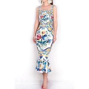 Spaghetti Strap 2018 Luxury Blue and White Porcelana Impresión Casual Trompeta Funda Mid-Calf Cuello Cuadrado Nuevo Vestido de llegada MX200518