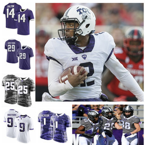Personalizado TCU Horned Frogs College Football Jerseys Taye Barber Jersey 6 Darius Anderson 13 Justin Rogers 33 SEWO Olonilua Alex Delton costurado