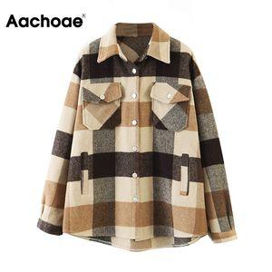 Aachoae فضفاض عارضة الصوف منقوشة المرأة السترة بدوره إلى أسفل الياقة معطف أزياء مع جيوب الخريف كم طويل السيدات معاطف وجاكيتات 200924