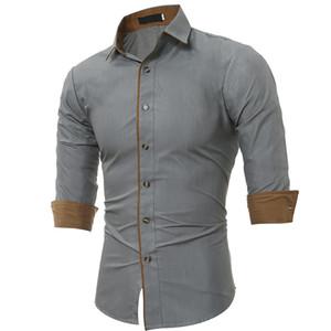 Mens Long Sleeve Oxford Casual cor sólida shirt Frente remendo Peito bolso regular-fit de abotoar trabalho de colarinho camisas