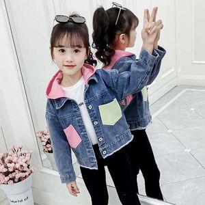Cuhk Kinder Denim Girls Jacken Teenager-Mädchen Langarm mit Kapuze Jeansjacke Kleinkind Kinder Cardigan Letters Oberbekleidung Drucken