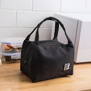 Student Lunch Bags Portable Lunch Box Large Capacity Picnic Bags Insulation Box Solid Color Case Handbags