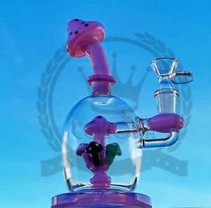 Tubos de vidro Bongs água Perc reciclador de água 18 milímetros Conjunto Fab Egg Dab Rig Showerhead Perc Caliane Pipes Rosa Roxo Bongs