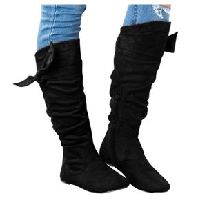 Women's Ladies Fashion Casual Beautiful Knotted Knee-high Long Boots Flat Flock Rubber Casual Shoes Ladies Boots Shoes 2020 NEW