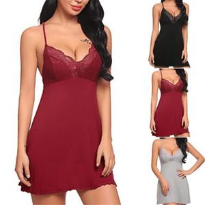 Womens biancheria da notte Plus Size Lace traspirante cablaggio Pigiama progettista solido di colore Donna Casual Undearwear Femme Intimo