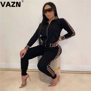 VAZN Autumn Sport V-neck Striped Comfortable Sexy 2019 Set full sleeve 2 Piece Sets Night Club Young Lady Sport Sets X0923