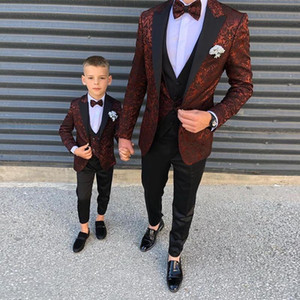 Fashion Burgundy Pattern Child Mens Suits Slim Fit Wedding Grooms Tuxedos Peaked Lapel Formal Blazer Kid Prom Suit (Jacket+Pants+Vest)