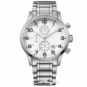 2020 new fashion hot men 1513182 White Chronograph Dial Stainless Steel Bracelet Men's Sport Casual Watch