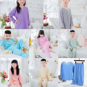 Dbhxy UDkAO 2020 acondicionamiento de manga larga de seda y algodón chicos Fino Normal ropa con pantalones niñas de aire de los niños Air pantalones de los niños