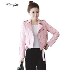 Fitaylor Spring Autumn Women Leather Jackets Soft Pu Faux Leather Coats Slim Short Design Turn Down Collar Motorcycle Jacket CX200812