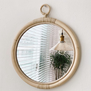 Floating Wall Mirror Display Unit Round Porthole Mirrored Wall Wooden Shelf Indoor Living Large Frame Rack Shelving Mirrors Bathroom Bedroom