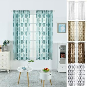 Drap Cover Curtain Rod Pocket Heading Sheer Panel Seersucker Window Screening Valance Curtain Dots Kitchen Living Room Bedroom