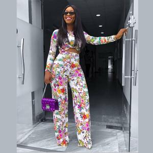 Женщины Цветочные из двух частей Брюки Черепаха Шея Длинные рукава Короткие Tshirt Высокая Wasit Широкие ноги штаны Famale Мода наборы