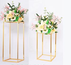 10ps florero de la rejilla de metal Columna Oro soporte de metal carretera principal central de la flor de la boda de rack para Gran Evento partido de la decoración