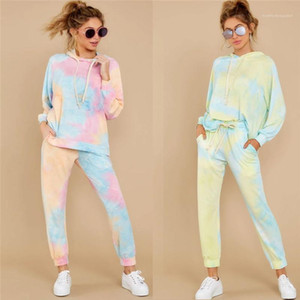 Sets Designer Female Loose Casual Suits Tie Dye Ladies Tracksuit 2pcs Set Fashion Trend Long Sleeve Top Hooded Sweatshirt 2 Pieces