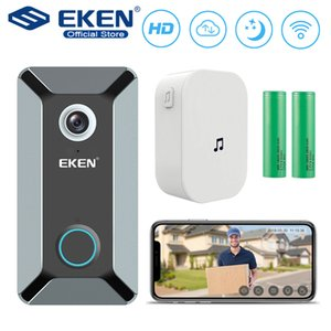 EKEN V6 واي فاي اللاسلكية الذكية الجرس 720P كاميرا فيديو سحابة التخزين الباب جرس كام منزل أمن الوطن للماء جرس رمادي