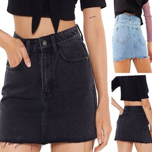 YD4ut denim minigonna mini vita alta elastico denim skirt dimagrante gonna A- linea dell'anca