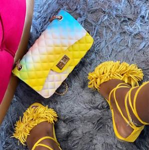Saco do mensageiro do arco-íris por Mulheres couro macio Moda PU Bolsas de Ombro Crossbody Handbag Jelly Cadeia Bag Crossbody pequeno Bolsas Mini Purse