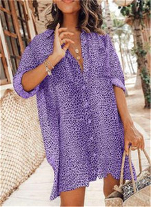 Manica lunga autunno del leopardo delle donne camicetta di modo allentato monopetto camicetta magliette casual Abbigliamento Donna Dropshipping